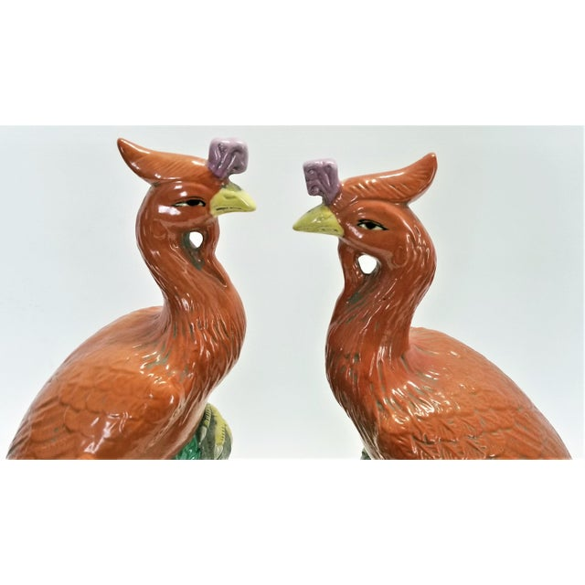 Large Chinese Ceramic Phoenix Sculpture Figurines - a Pair - Feng Shui - Asian Palm Beach Boho Chic Animals Birds Tropical Coastal For Sale - Image 10 of 13