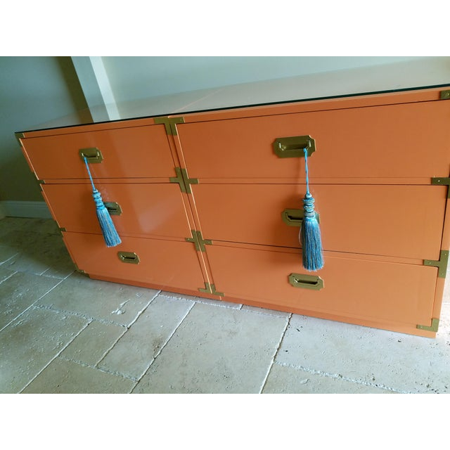 Orange Campaign Style Nightstands - A Pair - Image 3 of 8