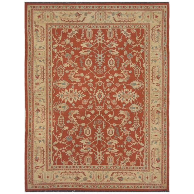 Genuine handwven Sumack rug from Kashmir. This flat woven rug features an all-over decorative design and it is made of...