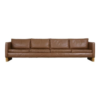 Mies Van Der Rohe for Knoll Custom Leather Sofa For Sale
