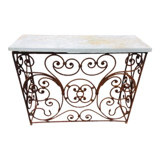 Baroque Hand Wrought T Iron Console For Sale