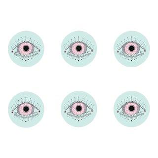 Rosie Evil Eye Coasters Set of 6 For Sale