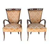 Image of 1940's Pair of Carved Chairs For Sale