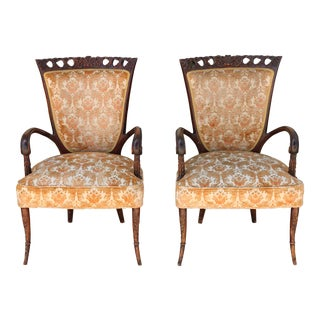 1940's Pair of Carved Chairs For Sale