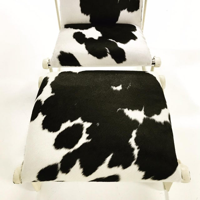Forsyth One of a Kind Morrison & Hannah for Knoll Chair & Ottoman Restored in Black & White Brazilian Cowhide For Sale - Image 9 of 11