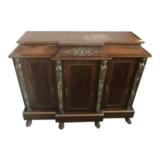 20th Century French Cabinet With Green Marble and Ormolu Accents For Sale