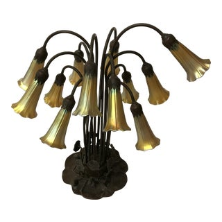 Tiffany Style Bronze Lily Flowers 12 Shade Georges Table Lamp For Sale