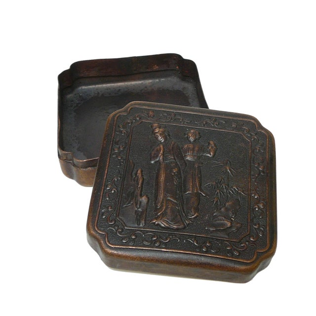 Chinese Handmade Metal Bronze Color Trinket Box For Sale - Image 4 of 5