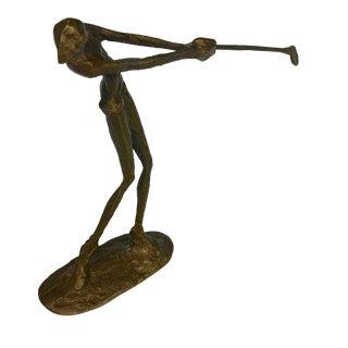 Late 20th Century Sculpture Bronze Golf Figurine For Sale
