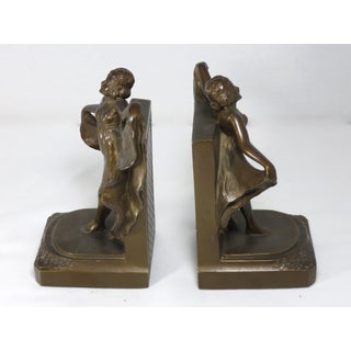 1920s Vintage Art Deco Metal Dancing Girl Bookends - A Pair Preview