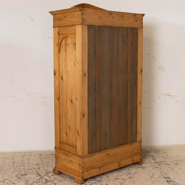 Antique Pine Single Door Armoire With Curved Panels For Sale - Image 4 of 9