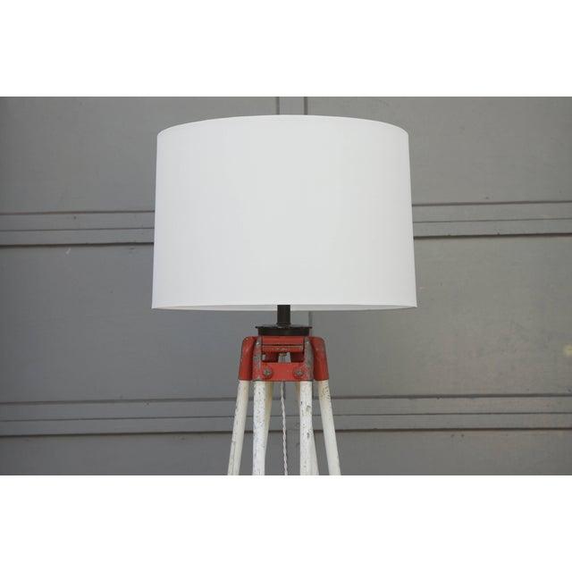 Industrial 1940s Tall Industrial Surveyor Tripod Floor Lamp For Sale - Image 3 of 6
