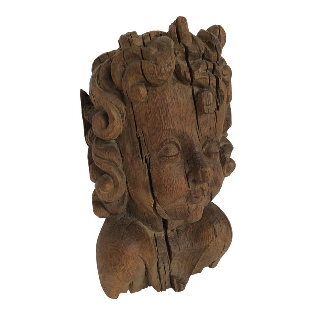 Flemish Carved Oak Cherub Head, 17th Century For Sale