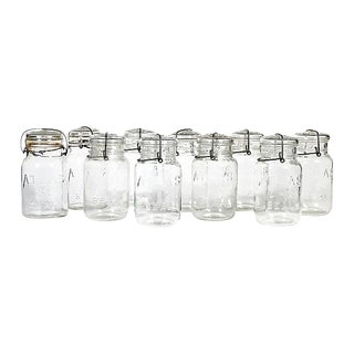 Large Kitchen Glass Canning Jars, Set of 10