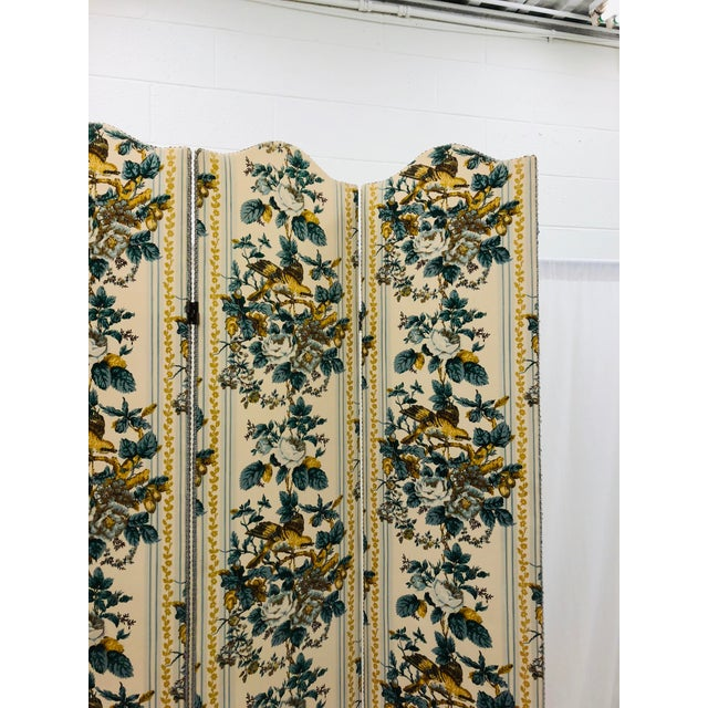 Fabric Vintage Chintz Screen For Sale - Image 7 of 9