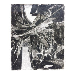 In Out Black and White Modern Abstract on Handmade Paper For Sale