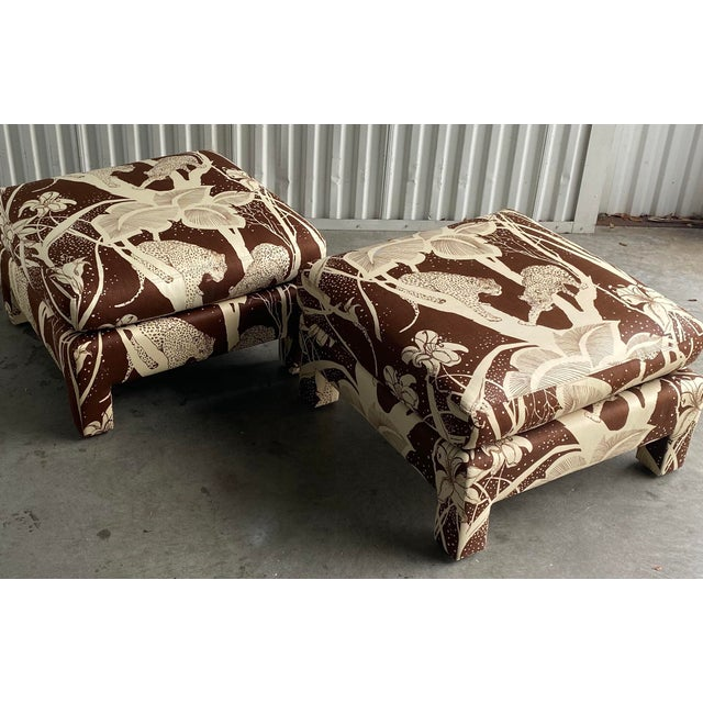Late 20th Century Vintage Cheetah Print Ottomans - a Pair For Sale - Image 5 of 8