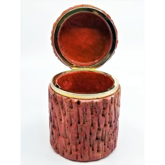 Vintage 1950s Red Alabaster Jewelry Box With a Fois Bois Tree-Like Carved Texture For Sale - Image 12 of 13