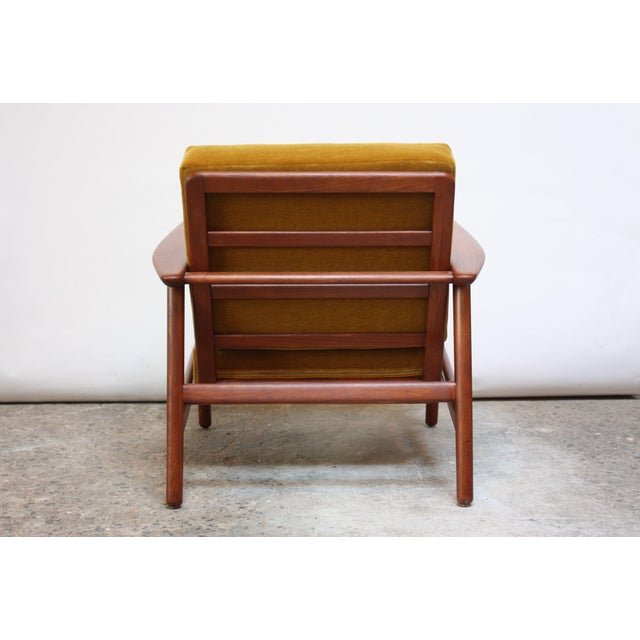 Danish Modern Reclining Lounge Chair in Ochre Mohair For Sale - Image 9 of 13