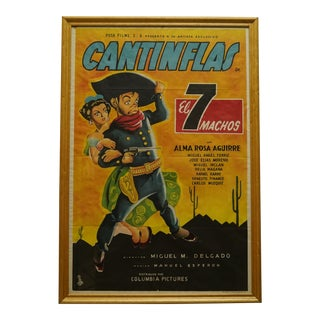 """1951 Mexican """"El 7 Machos"""" Cantinflas Litho Poster For Sale"""