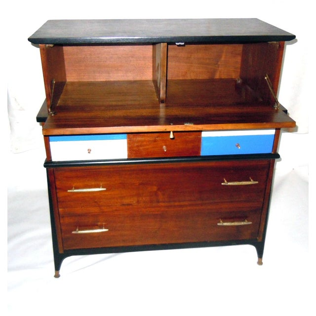 Mid-Century Modern Walnut & Painted Dresser - Image 4 of 8