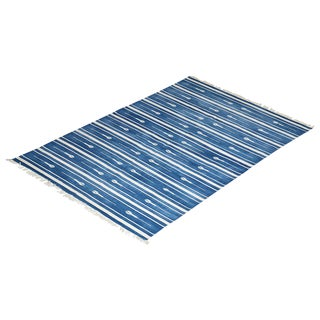 Reed Rug, 6x9, Blue & White For Sale