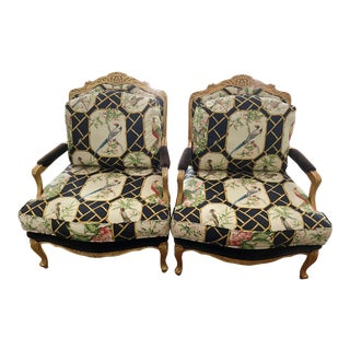Old Hickory Custom Upholstered Bergeres - A Pair For Sale