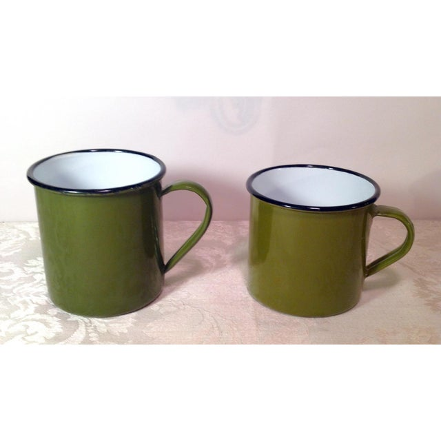 Mid-Century Modern Vintage Enamel Ware Cups- Set of 6 For Sale - Image 3 of 11