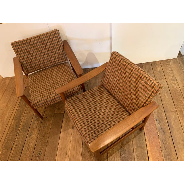 1960s Danish Mid Century Modern Teak and Upholstered Club Chairs- A Pair For Sale - Image 5 of 9