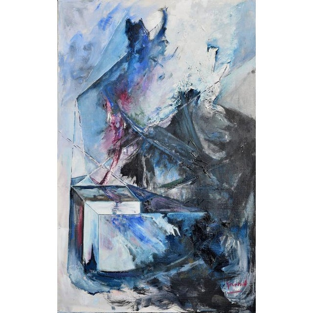 Abstract Blue & Black Abstract Expressionist Painting For Sale - Image 3 of 5