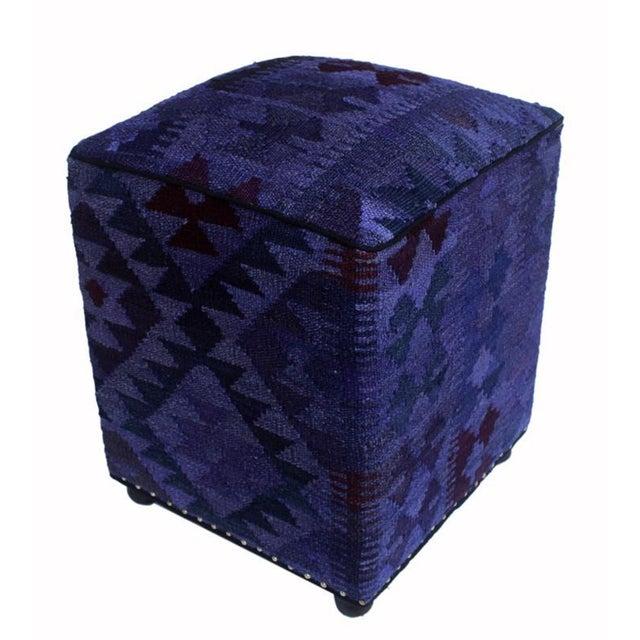 Dark Gray Retro Demetria Purple/Dark. Gray Kilim Upholstered Handmade Ottoman For Sale - Image 8 of 8