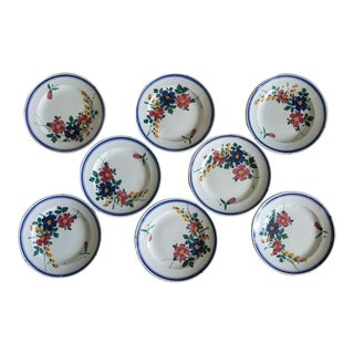 Set of Eight Antique Faience Plates For Sale