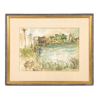 Mid 20th Century Landscape Watercolor Painting Signed S. Klein, Framed For Sale