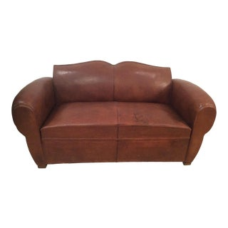 French Art Deco Leather Sleeper Sofa For Sale