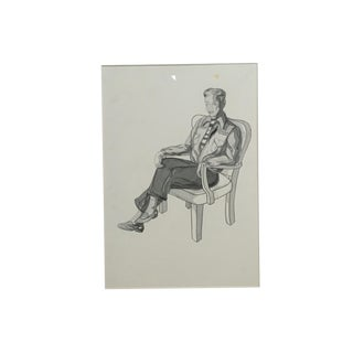 1950s Pen & Ink Advertising Art - Seated Man by Barbara Crist For Sale
