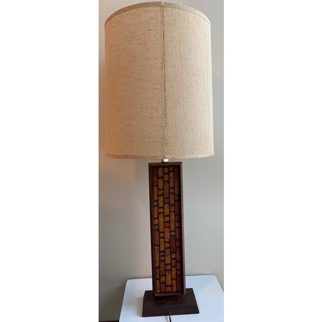 Wood 1960s Mosaic Style Wood Lamp Mid Century Modern Retro Lighting For Sale - Image 7 of 10