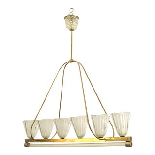 Italian 1940s Chandelier With Six Large Oval Fluted & Flared Shades For Sale