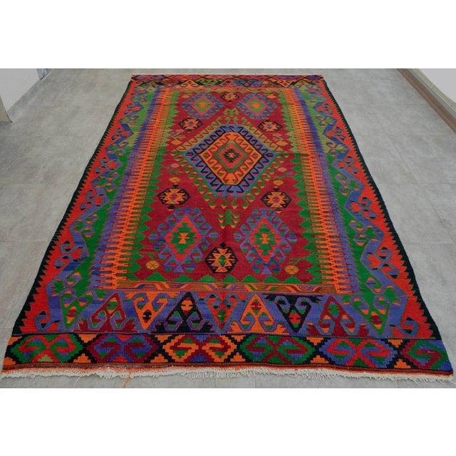 Turkish Kilim Hand Woven Wool Area Rug - 5′8″ X 9′4″ - Image 3 of 9