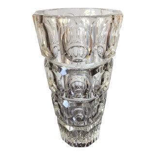 Josef Hoffmann Style Crystal Vase For Sale