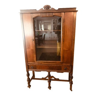 Antique Glass and Wood Curio Cabinet For Sale