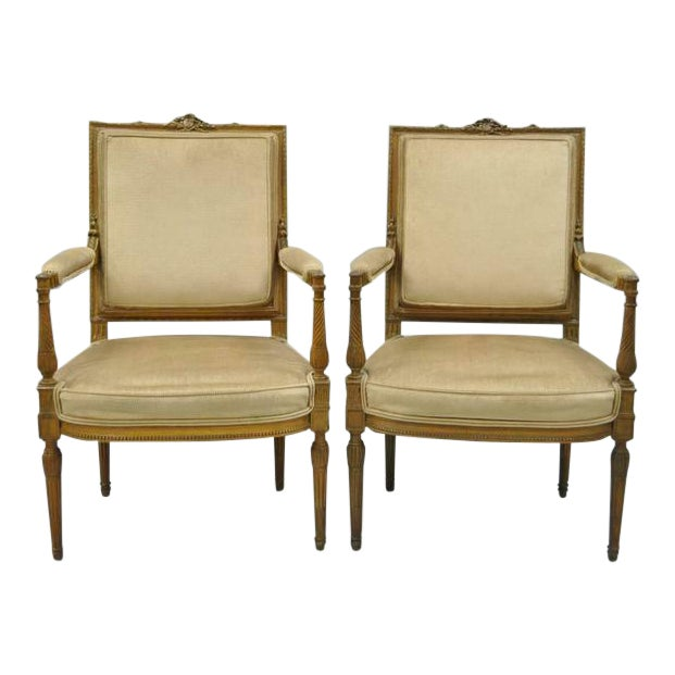 Vintage Carved Walnut French Louis XVI Directoire Square Back Fireside Arm Chairs- a Pair For Sale