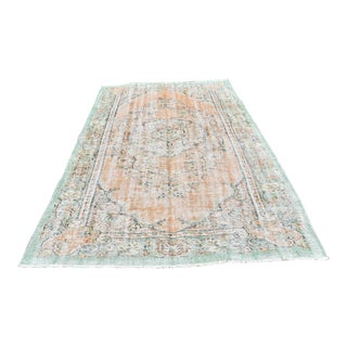 Vintage Turkish Oushak Rug Handwoven Wool Muted Colors Anatolian Area Carpet - 6x8 Ft For Sale