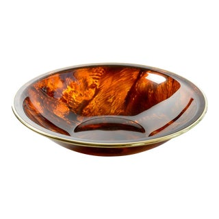 """Tortoise Shell Lucite & Brass Bowl, 15.5"""" , Manner of Gabriella Crespi, 1960 Italy For Sale"""