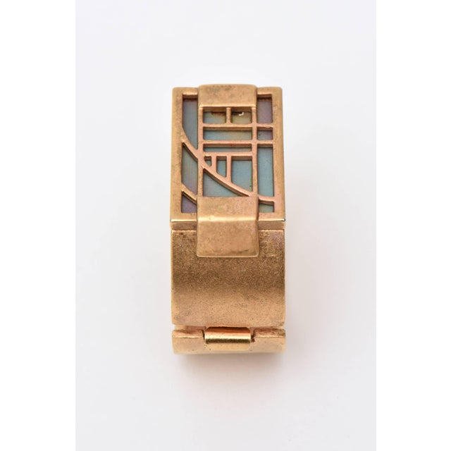 Aesthetic Movement Monet Signed Gold Plated & Iridescent Resin Hinged Cuff Bracelet Final Markdown For Sale - Image 3 of 10