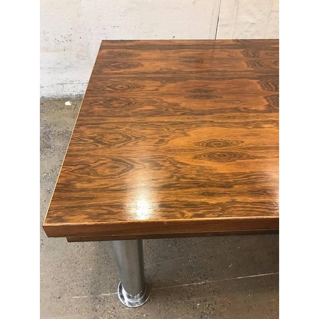 Rosewood and Chrome Conference Table For Sale - Image 4 of 6