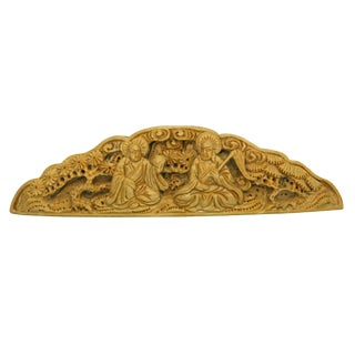 Quality Carved Bamboo Birdcage Decor Platel With Two Meditate Buddha N390s For Sale
