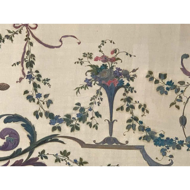 Wood Robert Adam Style Painted Interior Architectural Panel, Framed For Sale - Image 7 of 10