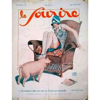 """G. Leonnec 1927 """"This Little Piggy"""" Le Sourire Cover Print For Sale"""