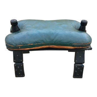 Vintage Green Leather Folding Camel Saddle For Sale