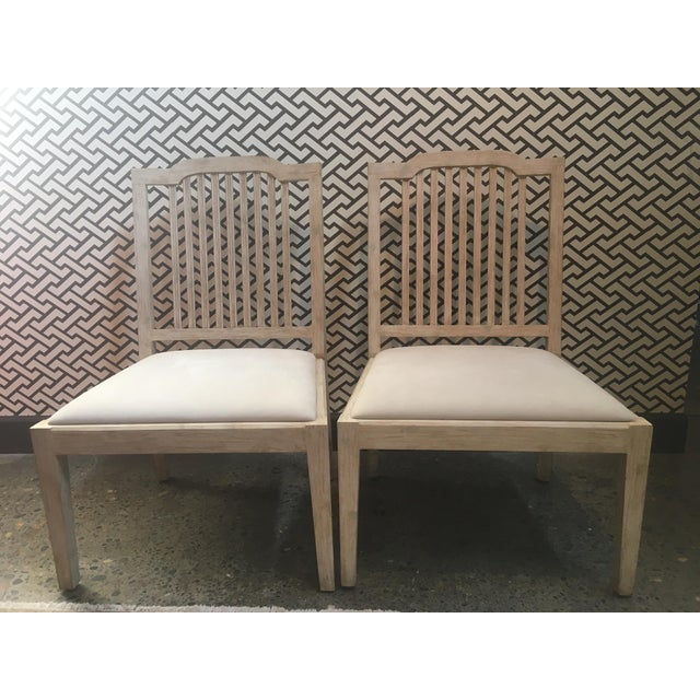 Pair of brand new David Iatesta Georgetown Side Chairs in Ivory Suede and maple wood with Dumbarton White finish